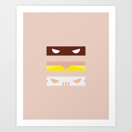 Teenage Minimal Ninja Good Guys Art Print