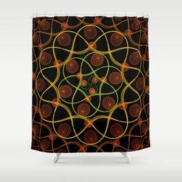 Spiral Round Black Shower Curtain