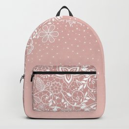 Elegant white lace floral and confetti design Backpack