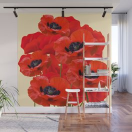 RED ORIENTAL POPPIES ON CREAM COLOR Wall Mural