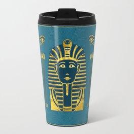 Gold Sphinx head with Egyptian hieroglyphs on blue leather Travel Mug