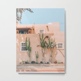 Pink House With Cactus Metal Print