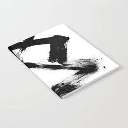Brushstroke 5 - a simple black and white ink design Notebook