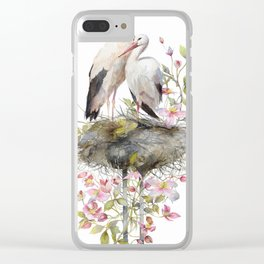 Stork Nest in Spring, Nature, Clematis, Botanicals, Blossoms Clear iPhone Case