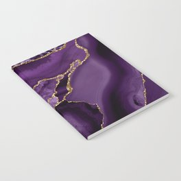 Glamour Purple Bohemian Watercolor Marble With Glitter Veins Notebook