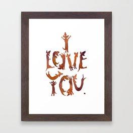 'I Love You' Sausage Dog Typography! Framed Art Print