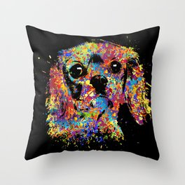 Colorful Cavalier King Charles Spaniel Throw Pillow