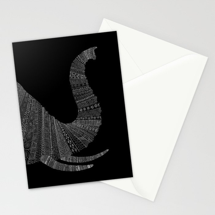 Elephant (On Black) Stationery Cards