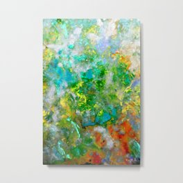 Abstract Art in Color Symphony Green Metal Print