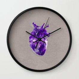 polygon heart // ultraviolet & silver Wall Clock