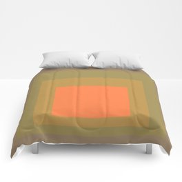 Block Colors - Muted Earthy Tones and Bright Orange Comforters