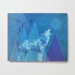 Blue Wolf Full Moon Metal Print