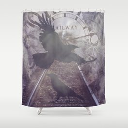 Crow Railroad Tracks Clock Fantasy Endless Rail, She Said A738 Shower Curtain