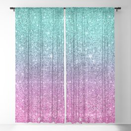 Pink and turquoise glitter ombre Sheer Curtain