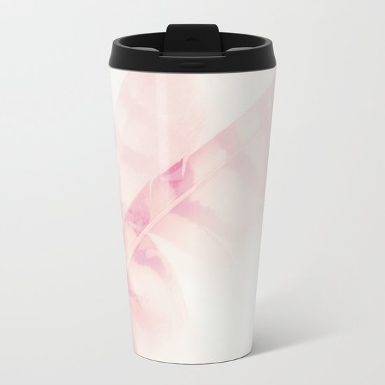 Pink feathers on a soft pastel background - beautiful and dreamy Metal Travel Mug