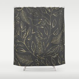 Holiday grey and gold Shower Curtain