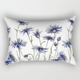 Blue Cornflowers, Illustration Rectangular Pillow