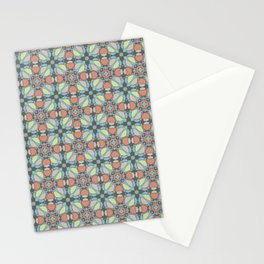 Art Deco Floral in green and orange Stationery Cards