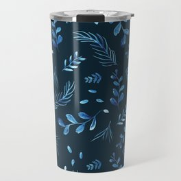 Modern dark blue leaf floral botanical watercolor pattern Travel Mug