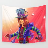 mad hatter Wall Tapestries featuring The Mad Hatter by mishybelle