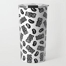 Jelly Beans & Gummy Bears Pattern - black on white Travel Mug