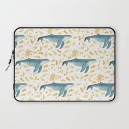 Blue Whales Swimming in Gold Laptop Sleeve