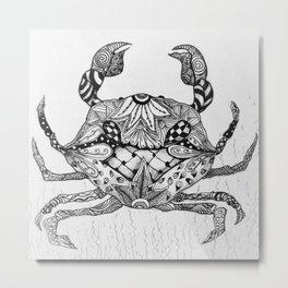 Zen Crab Metal Print