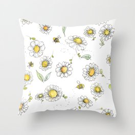 Bees and Daisies Throw Pillow