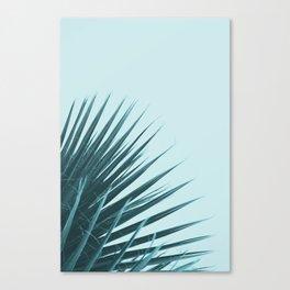 Blue Palm Leaf Canvas Print