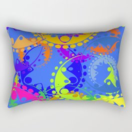 Texture of bright colorful gears and laurel wreaths in kaleidoscope style on a blue background. Rectangular Pillow