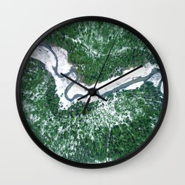 AERIAL. River Lakaja in woods of Labanoras, Lithuania Wall Clock