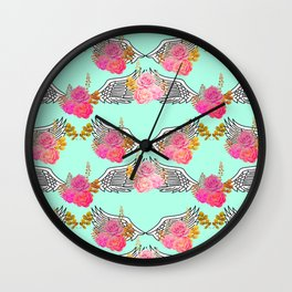 Wings and Roses Mint Green Wall Clock