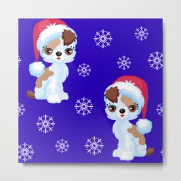 Cute Christmas Puppies With Glam Eyelash Extensions Pattern Metal Print