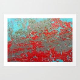 texture - aqua and red paint Art Print