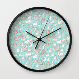 Cute bunny pattern light blue Wall Clock
