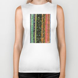 Absorbed Rings with Vertical Stripes Pattern Biker Tank