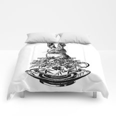 Rabbit in a Teacup | Black and White Comforters