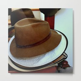 Hat Stacking On The Rack Metal Print