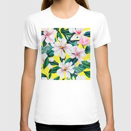 Pink And White Floral Print On Tropical Yellow T-shirt