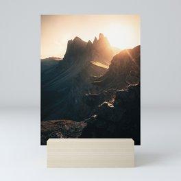 Sunset on Seceda Mountain Mini Art Print