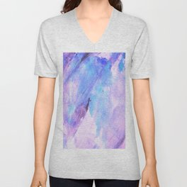 Pastel pink lilac teal modern watercolor brushstrokes Unisex V-Neck
