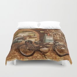Nostalgic garage with tractor and motorcycle Duvet Cover