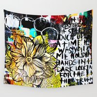 alisa burke Wall Tapestries featuring big messy yellow flower by Alisa Burke