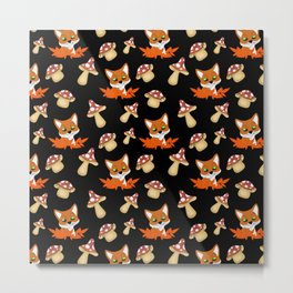 Cute happy red foxes, fallen leaves and wild forest mushrooms seamless black pattern. Fall season. H Metal Print
