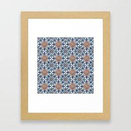 Iznik Tile Pattern Red Blue White Framed Art Print