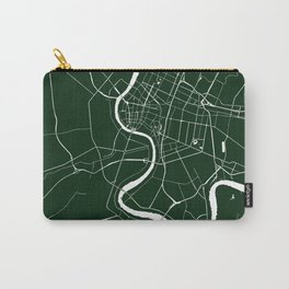 Bangkok Thailand Minimal Street Map - Forest Green and White Carry-All Pouch