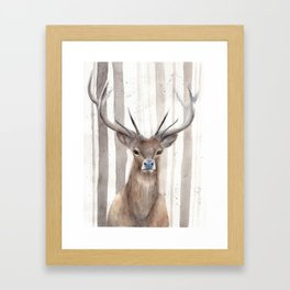 "Watercolor Painting of Picture ""Deer in Winter Forest"" Framed Art Print"