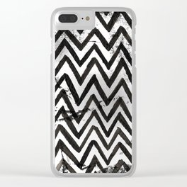 Black Chevron Stripes Boho Designs soutwestern goth Clear iPhone Case