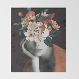 WOMAN WITH FLOWERS 7 Throw Blanket