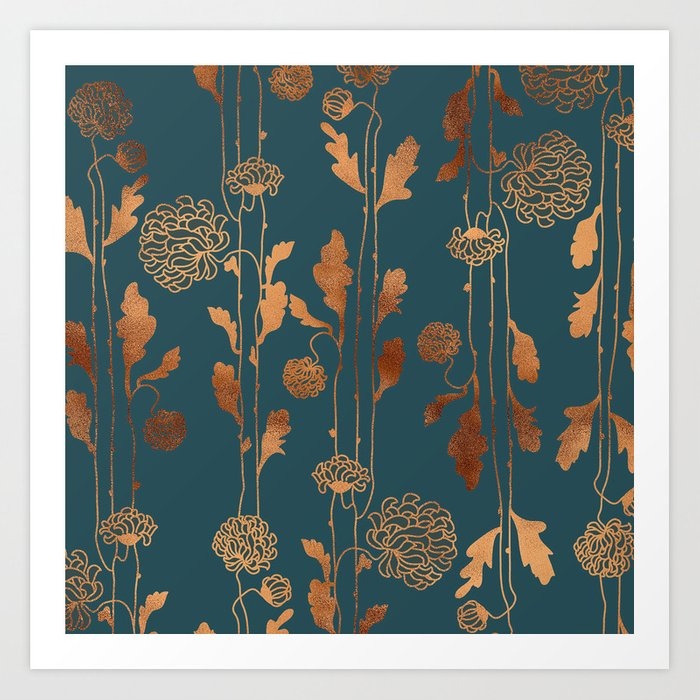 Art Deco Copper Flowers  Kunstdrucke